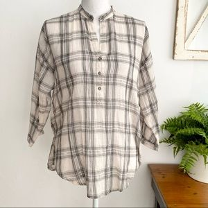Lucky Brand Plaid Peasant Shirt Pullover SZ XS